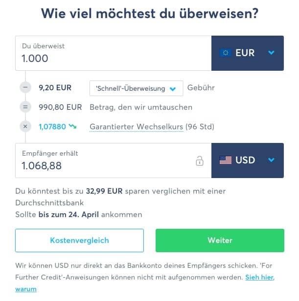 transferwise deutsch step 1 1