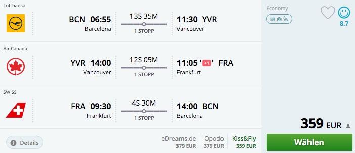 Momondo Barcelona - Vancouver - Frankfurt - Barcelona