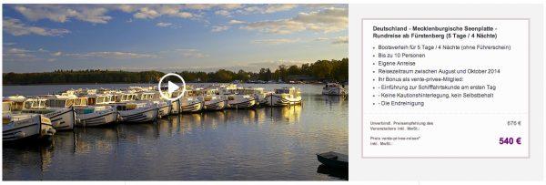 5 Tage Mecklenburgische Seenplatte für 540€