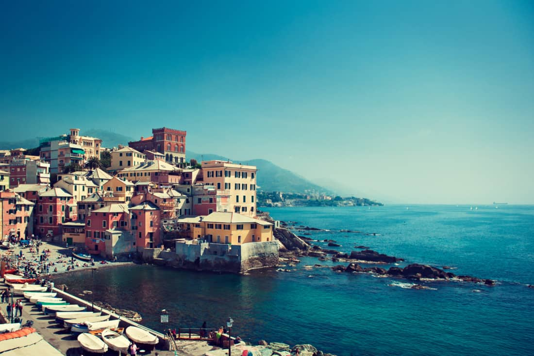 View of the town of Genoa in Italy