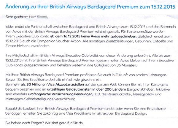 Barclaycard Biritsh Airways Premium Änderungen