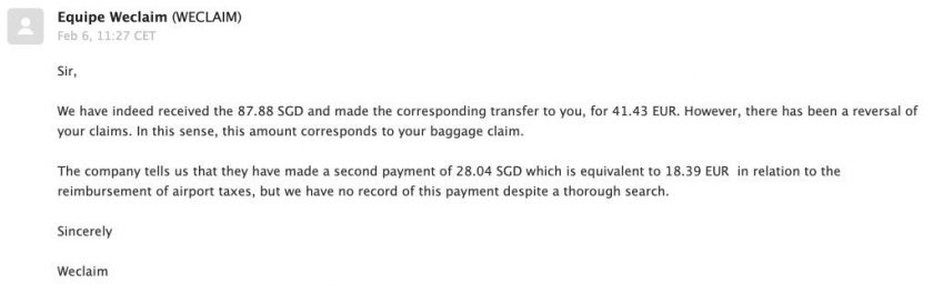 weclaim deadline response