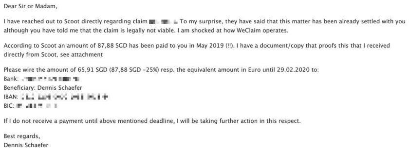 weclaim letter deadline