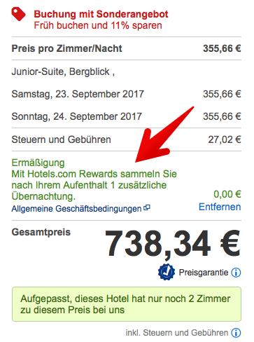 Hotels.com Rewards Gutschein eingelöst