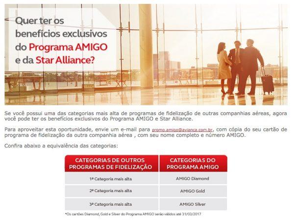 Avianca Brasil AMIGO Status Match