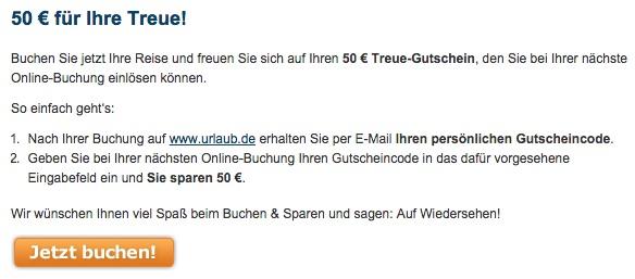 Urlaub.de 50€ Gutschein