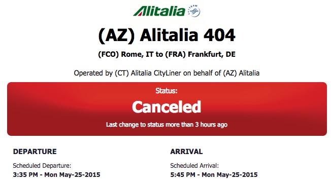 Flightstats Flug gecancelt