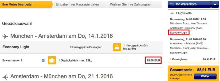 Lufthansa Gepäck hinzubuchen