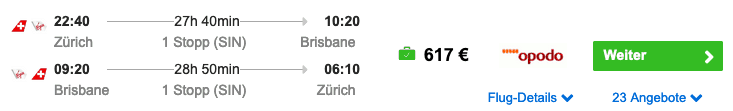 ZRH BNE 617 €